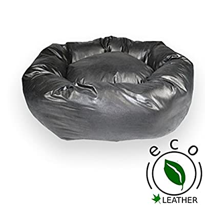 Donut Dog Bed, Black Faux Leather. UK MANUFACTURER