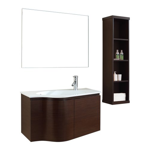 Virtu USA ES-1236-C-WA Roselle 36-Inch Wall-Mounted Single Sink Bathroom Vanity Set with White Ceramic Countertop, Walnut Finish