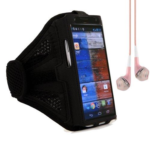 Meshy Cycling Sports Adjustable Armband Case For Motorola Moto X / Moto G / Motorola Droid X (Black) + Pink Vangoddy Headphones With Mic