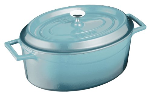 Lava Cookware Oval Series Enameled Cast Iron Dutch Oven, 4-1/4 Quart, Blue Opal front-641736
