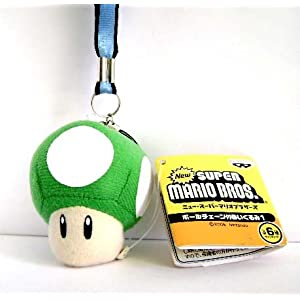 MARIO BROS.: 1up Green Mushroom Plush Lanyard