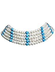 Surat Diamonds 5 Line Real Freshwater Pearl & Turquoise Beads Choker Necklace For Women (SN84)