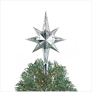 #!Cheap Silver Star Tree Topper - Style 37264