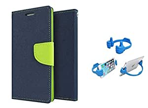 Online Street Premium Quality Flip Cover With Stand For Samsung Galaxy E7 - (Royal Blue + OTG)