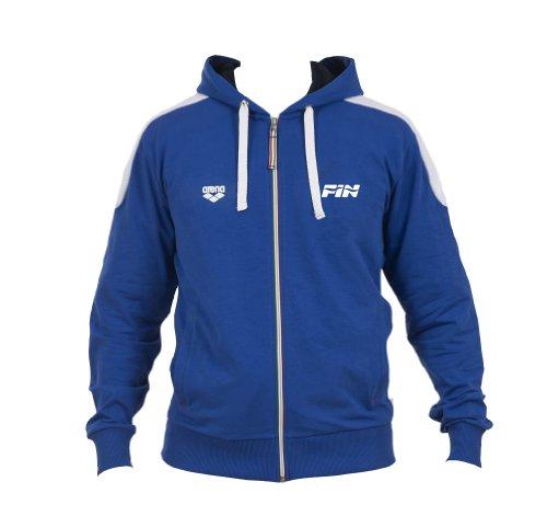 Arena Hooded F/Z JACKET FIN II Felpa con cappuccio  Unisex adulto, Collezione Italia per la Federazione Italiana Nuoto (FIN), Blu, L