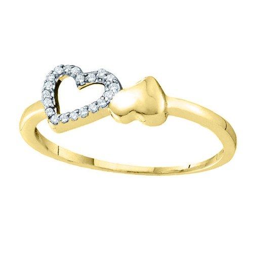 10K Yellow Gold 0.05 ct. Diamond Heart Ring