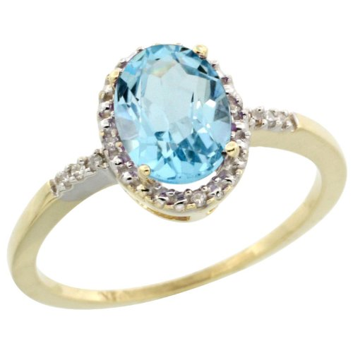 10k Gold ( 8x6 mm ) Halo Engagement Swiss Blue Topaz Ring w/ 0.033 Carat Brilliant Cut Diamonds & 1.35 Carats Oval Cut Stone, 3/8 in. (10mm) wide, size 5.5