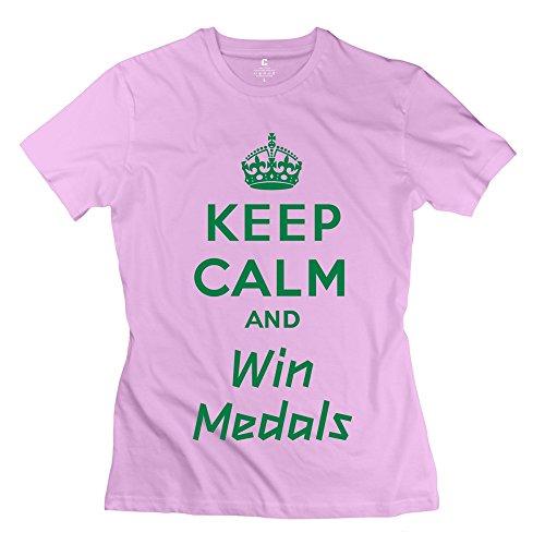 Zhitian Women'S Keep Calm Win Medals T-Shirt - Xxl Pink