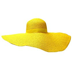 Yellow 6 Inch Wide Brim Shapeable Paper Straw Floppy Sun Hat