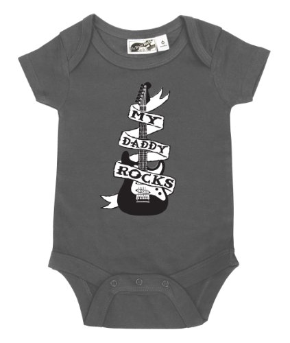 My Daddy Rocks Guitar Tattoo Charcoal One Piece 6-12 Months front-1027615