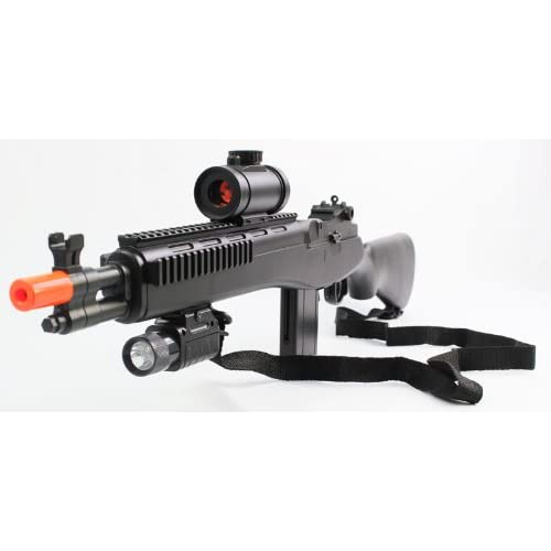 double eagle high quality spring tactical m14 assault rifle fps 275 airsoft gun, includes flashlight, sling, red dot sight, high capacity magazine(Airsoft Gun)