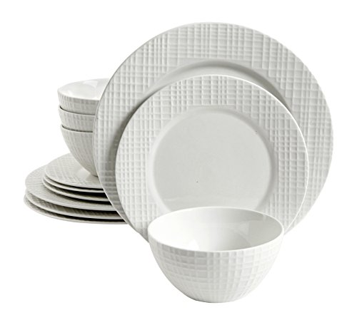 Trish Richman 12 Piece Raw Silk Dinnerware Set, White (Porcelain Service For 12 compare prices)