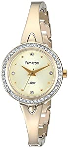 Armitron Women's 75/5238CHGP Swarovski Crystal Accented Gold-Tone Bangle Watch