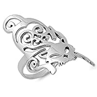 Sterling Silver Cat Animal Ring