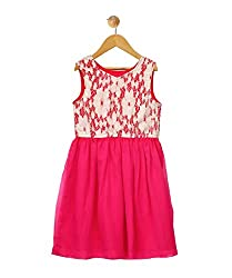 Budding Bees Girls Pink & White Printed Fit & Flare Dress