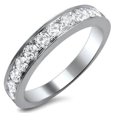 -2 F.90Ct Round Diamond Pave Wedding Band Ring 18K White Gold