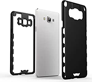 Galaxy A7 Case, SWAN Hard Dual Layer Bumper Back Case Cover For Samsung Galaxy A7 (Matte Black) - By SWAN