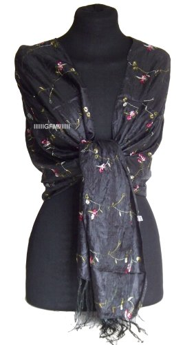 Beautiful Thai Silk-Mix (Colour: BLACK) Embroidered Summer Scarf Sarong or Wrap Stole Shawl Pashmina (code: THSK)