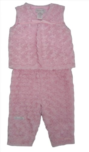 Max and Tilly Baby Girl Pale Pink Fluffy Rose Velour Gilet and Trouser Set size Newborn