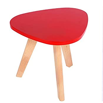 Vividy Mini Triangle Side Table, Portable Coffee Round MDF Table for Modern Balcony Room(Red)