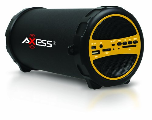 Axess Spbt1031 Portable Bluetooth Indoor/Outdoor Hi-Fi Cylinder Loud Speaker With Sd Card And Usb Input In Yellow Color