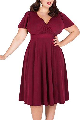 Nemidor Women's V-neckline Stretchy Casual Midi Plus Size Bridesmaid Dress (26W, Wine Red)