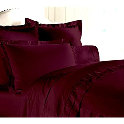 Egyptian cotton Luxurious Fitted Sheet with Duvet Set 500 TC Solid by Elegant Bedware ( Full , Wine ) deal 2015