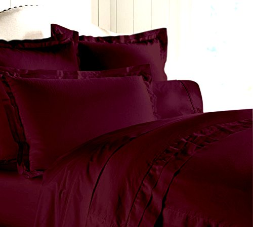 """Egyptian Cotton Luxurious Fitted Sheet With 16"""" Deep Pocket 800 TC Solid By Amrich Bedding ( Short Queen , Wine..."""