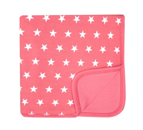 Bob and Blossom Flamingo Pink & White Stars Baby Pram Blanket