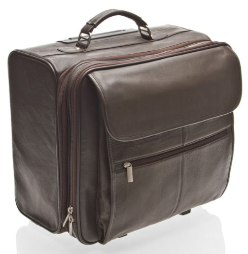 HIDEONLINE BROWN LEATHER TROLLEY CASE / WHEELED BUSINESS BAG