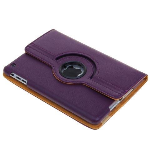 子どもに持たせても安心♪iPad mini 用360° 回転 スタンドケース PUレザーケース アップルアイパッド ミニ スタンドケース  オートスリープ機能付 AppleのiPadミニ用防水ケースパープル フリップスタンドLeather Case iPad mini