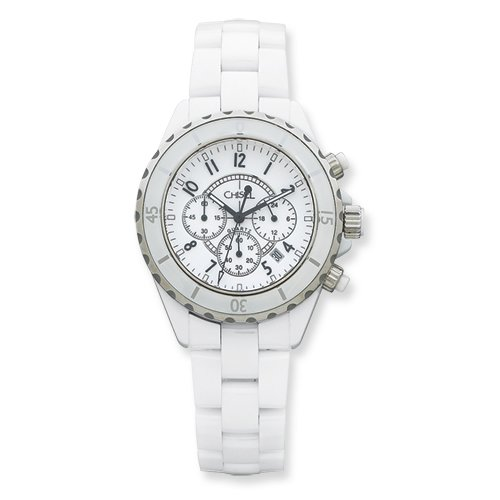 Mens Chisel White Ceramic And Dial Chronograph Watch, Best Quality Free Gift Box Satisfaction Guaranteed