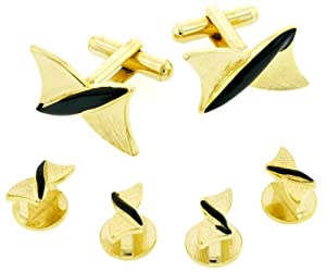 Unusual gold plated and black enamel cufflinks and shirt studs formal set with presentation box. Made in the USA