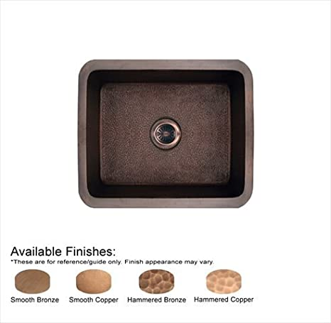 Copperhaus Undermount Copper 19 in. 0-Hole Single Bowl Kitchen Sink in Smooth Bronze