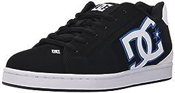 DC Men\'s Net Skate Shoe, Black/White/Blue, 12 M US