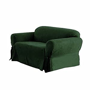 SOLID SUEDE Couch Cover 3 Pc. slipcover Set = Sofa + Loveseat + Chair Covers / Slipcovers 3 Pcs SET - HUNTER GREEN color