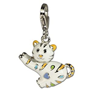 SilberDream Charm funny cat, enameled with colored points, 925 Sterling Silver Charms Pendant with Lobster Clasp for Charms Bracelet, Necklace or Earring FC644