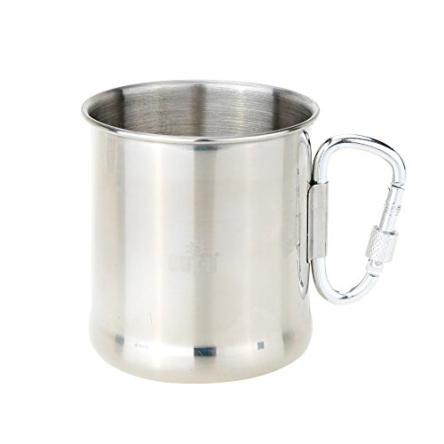 Portable Folding Handle Cup for Camping Outdoor Stainless Steel Cup Mug with Foldable Self-lock Carabiner Handle 250ml