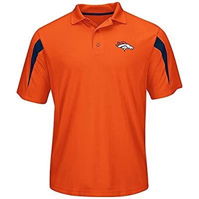 Majestic Denver Broncos Mens Big Size Field Classic Cool Base Polo Shirt - Orange - 3X