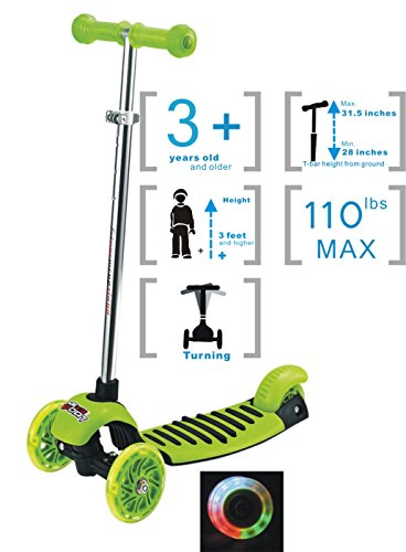 Voyage Kids Kick Scooter for Kids Birthday Gifts, Tricycle Design for Toddler,LED lights Up,3 Wheeled Push Scooter, Adjustable Height T-bar Handle for 3 Years Old and Older (Green)