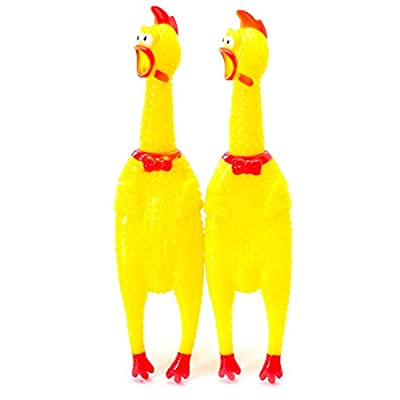 Healthy Clubs Yellow Screaming Rubber Chicken Pet Dog Toy Squeak Squeaker Chew Gift