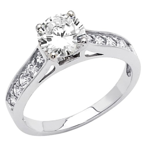 Best Deals 925 Sterling Silver Round cut CZ Cubic Ziconia Solitaire with sid