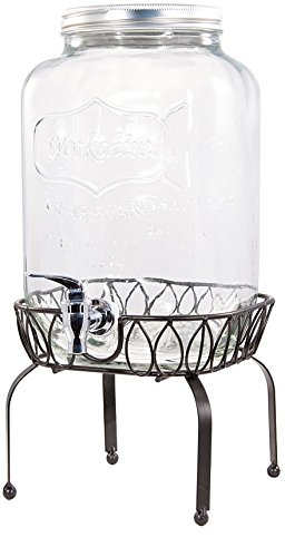 Circleware Yorkshire Mason Jar 2 Gallon Beverage Drink Dispenser with Metal Stand, Lid and Spout/Spigot (Water Pitcher Glass 2 Gallon compare prices)