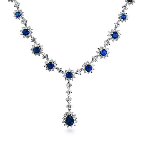 Bling Jewelry Art Deco Flower Crown Set CZ Sapphire