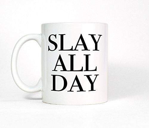 Most Toasty Slay All Day Ceramic Coffee Mug, Inspirational Quote Coffee Cup, 11 Ounce, White (Beyonce Coffee Cup compare prices)