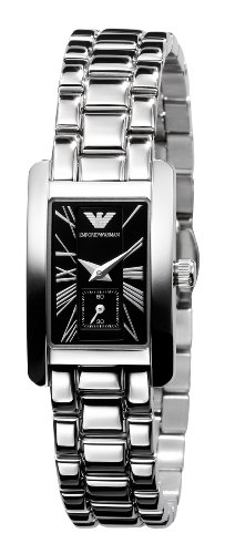 Emporio Armani Quartz, Black Dial with Stainless Steel Link Bracelet - Womens Watch AR0170