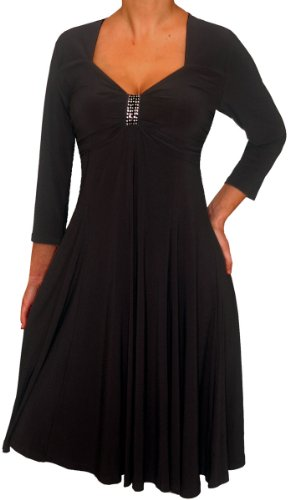 Funfash Black 3/4 Sleeves Empire Waist Cocktail Dress New Plus Size Made In Usa 1X Xl 16