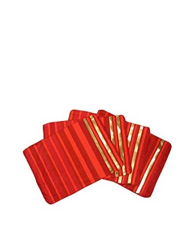 Aviva Stanoff Set of 4 Placemats, Red/Gold