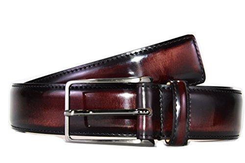 Cintura Uomo -OAKS- Colore Bordeaux, Vitello Tamponato, Fodera Pelle, Prodotto Artigianale 100% Made in Italy