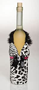 White Black Animal Print Dress Wine Bag W